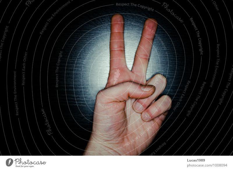 Zwei, Peace, Schere blau Hand rot schwarz Stein Haut Papier Frieden zeigen gestikulieren
