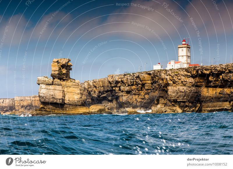 Leuchtturm bei Cabo Carvoeiro mit Felsenmann Natur Ferien & Urlaub & Reisen Pflanze Sommer Meer Landschaft Ferne Umwelt Gefühle Küste Freiheit Freizeit & Hobby