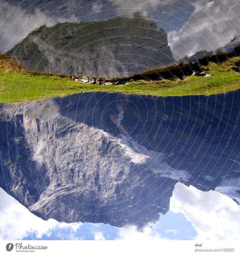 Titlis Farbenspiel himmelblau krumm Engelberg Schweiz Fürenalp Seilbahn Reflexion & Spiegelung alpin Wolken auf dem Kopf Kopfstand Gras grün nass See Teich
