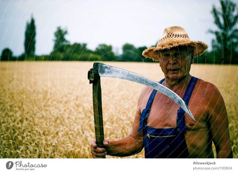 Sens(e)ibel Sensenmann Feld Landwirtschaft Großvater Mann braun Sonnenbad Leder Scharfrichter Abschlag Weizen Latzhose alt Strohhut Handwerk Senior Sommer Tod