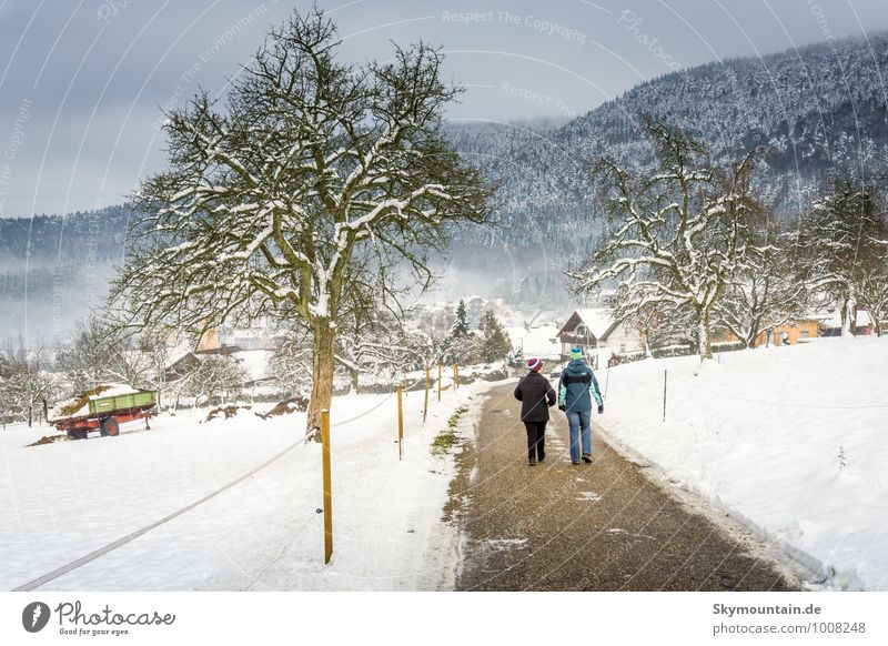 Winter Walk Mensch Frau Jugendliche blau Junge Frau weiß Landschaft Berge u. Gebirge Erwachsene Umwelt Leben Gefühle feminin Gesundheit Familie & Verwandtschaft