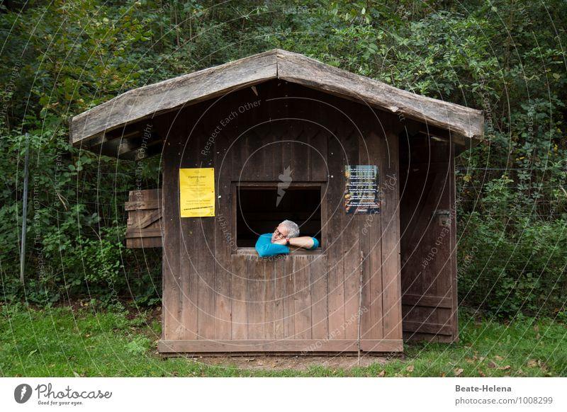 Boreout in der Idylle Mann Erwachsene Natur Herbst Baum Sträucher Wald Haus Hütte Verkehr Personenverkehr Straßenverkehr Wege & Pfade Arbeit & Erwerbstätigkeit