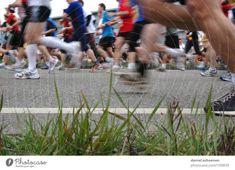 neulich beim Marathon (Teil 2) Straße Sport Spielen Bewegung Schuhe Beine Gesundheit laufen rennen Geschwindigkeit Perspektive Fitness Mensch Sportveranstaltung
