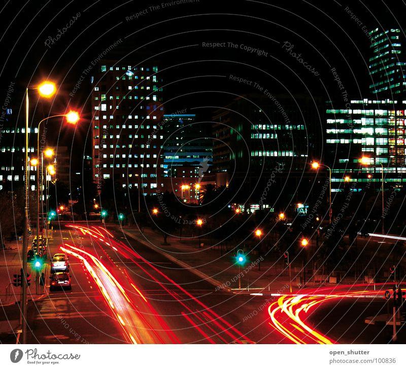 Cape Town Central Stadt Südafrika Langzeitbelichtung Verkehr night streets lights cars offices roads Kapstadt