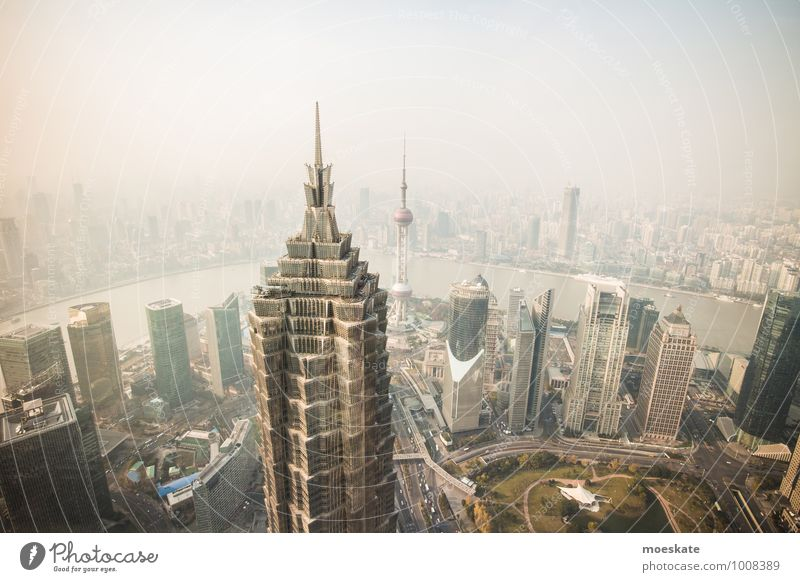 Shanghai Pu Dong China Asien Stadt Stadtzentrum Skyline bevölkert Haus Hochhaus Bankgebäude Turm gigantisch modern grau Farbfoto Gedeckte Farben Außenaufnahme