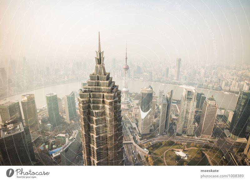 Shanghai Pu Dong Stadt Haus grau modern Hochhaus Turm Asien Bankgebäude Skyline Stadtzentrum China gigantisch bevölkert