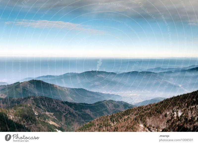 Dunst Ausflug Abenteuer Ferne Freiheit Umwelt Natur Landschaft Urelemente Himmel Horizont Herbst Winter Schönes Wetter Wald Berge u. Gebirge Tal Nebel Erholung