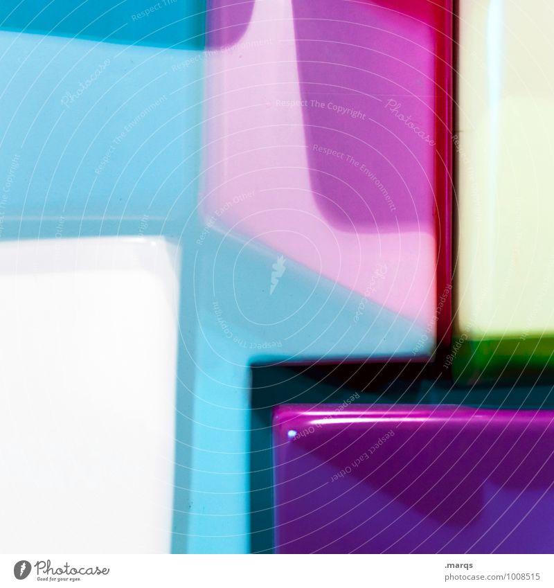 Plastic World Lifestyle elegant Stil Design Kunststoff eckig trendy einzigartig modern blau grün violett weiß Farbe Perspektive Doppelbelichtung Farbfoto