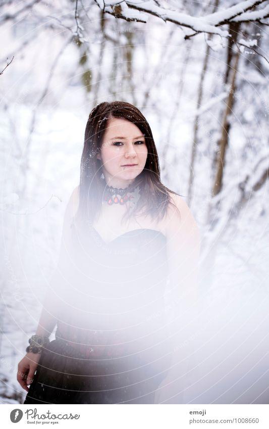 eingeschneit feminin Junge Frau Jugendliche 1 Mensch 18-30 Jahre Erwachsene Winter Schnee Schneefall kalt weiß Farbfoto Außenaufnahme Tag Unschärfe