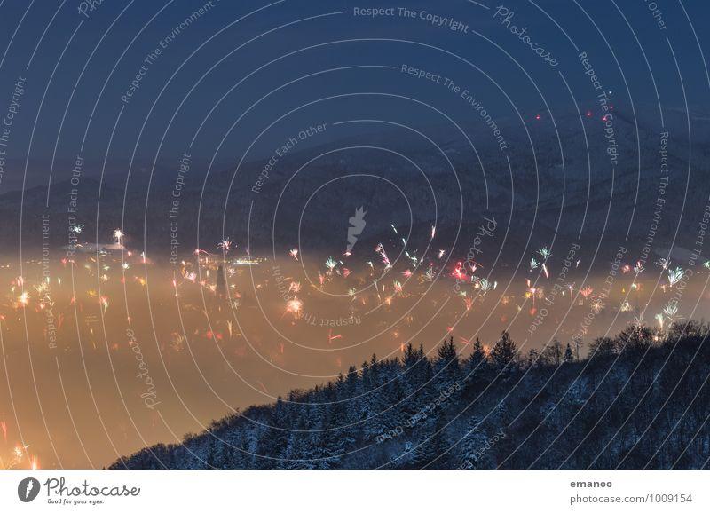 Freiburg Null Uhr Ausflug Winter Berge u. Gebirge Feste & Feiern Silvester u. Neujahr Jahrmarkt Natur Landschaft Luft Himmel Wolken Nachthimmel Nebel Eis Frost