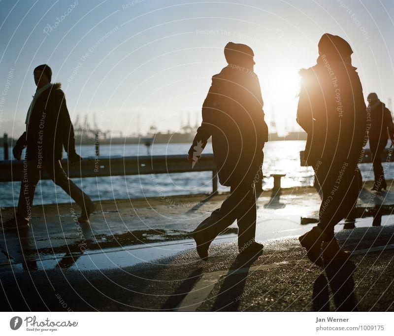 Hamburger Hafen harmonisch Sightseeing Städtereise Winter Winterurlaub Erneuerbare Energie Sonnenenergie Mensch Paar Partner Leben 2 3 Schönes Wetter Eis Frost