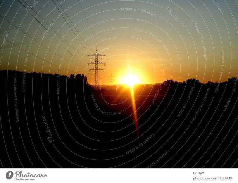Abendsonne in der Toskana Deutschlands Sonne Elektrizität Romantik Skyline Strommast