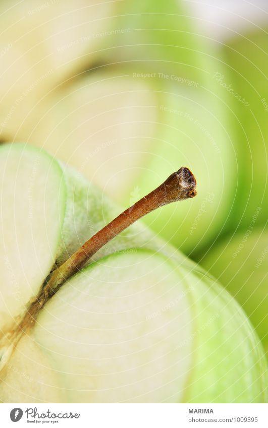 Detail of a green apple Natur grün Umwelt Lebensmittel Frucht frisch Ernährung lecker Apfel reif Vegetarische Ernährung roh Zutaten aufgeschnitten Apfelschale