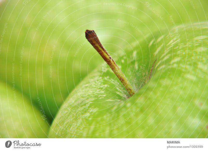 Detail of a green apple Natur grün Umwelt Lebensmittel Frucht frisch Ernährung lecker Apfel reif Vegetarische Ernährung roh Zutaten Apfelschale