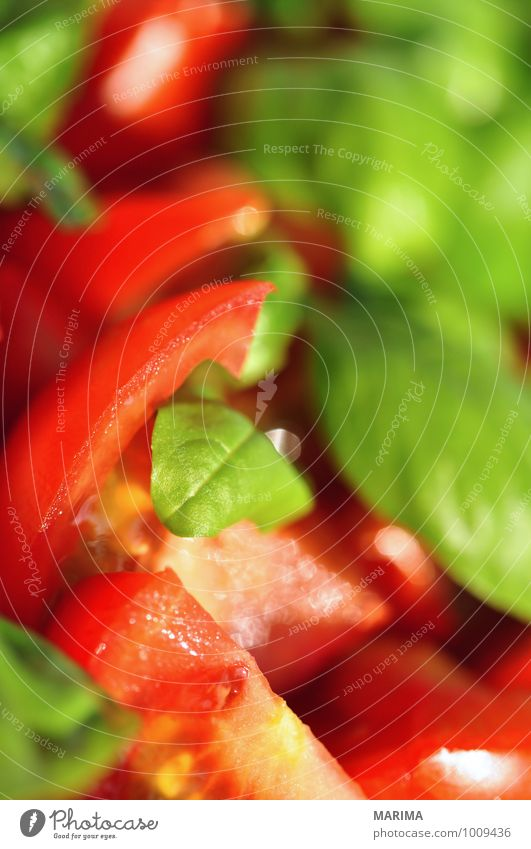 detail of tomato-basil salad Lebensmittel Gemüse Ernährung Büffet Brunch Vegetarische Ernährung Gastronomie Umwelt Natur Blatt Liebe frisch kalt lecker grün rot