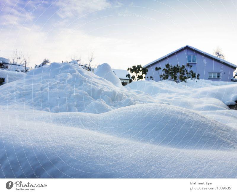 Landschaft im Schnee versunken Natur blau weiß Haus Winter Umwelt Gefühle Wiese Hintergrundbild Garten Horizont Design Schneefall ästhetisch