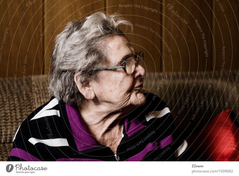 Omi Gesundheit Seniorenpflege feminin Weiblicher Senior Frau Großmutter 60 und älter Pullover Brille weißhaarig beobachten sitzen träumen alt Freundlichkeit