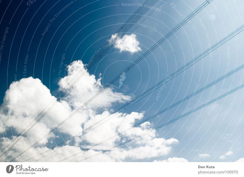 Marionettenwolken Himmel weiß Sonne blau Sommer Wolken Erholung oben Freiheit träumen Kunst fliegen frei Kultur zart türkis