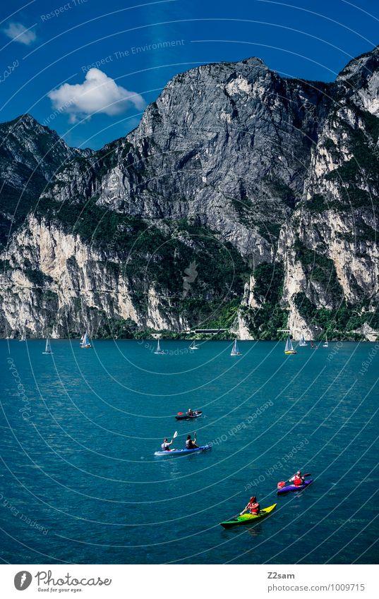 Lago di Garda Himmel Natur Ferien & Urlaub & Reisen Sommer Erholung Landschaft ruhig Umwelt Berge u. Gebirge See Felsen Freizeit & Hobby Idylle Schönes Wetter