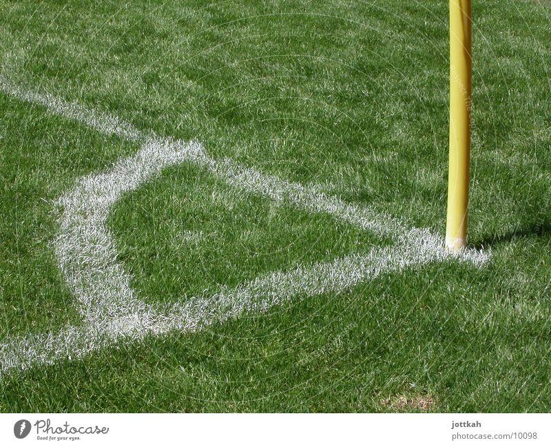 Stell Dich in die Ecke und schäm Dich Sport Fußball Ball gelb grün Fußballer Bundesliga Kick Rasen Fahnenmast Sportrasen Schilder & Markierungen Gras grasgrün