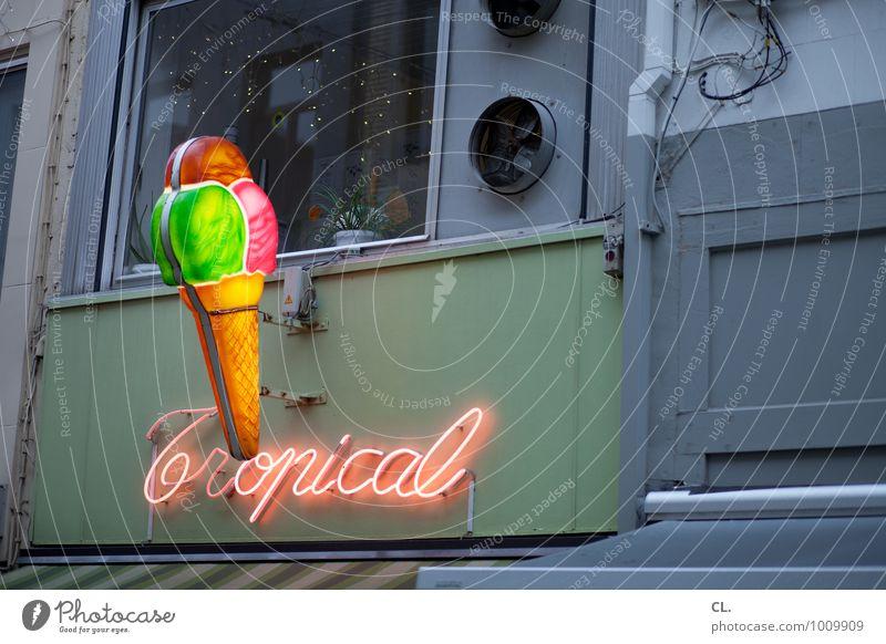 tropical Ferien & Urlaub & Reisen Stadt Freude Fenster Wand Mauer grau Lifestyle Freizeit & Hobby trist Schilder & Markierungen Schriftzeichen Ernährung