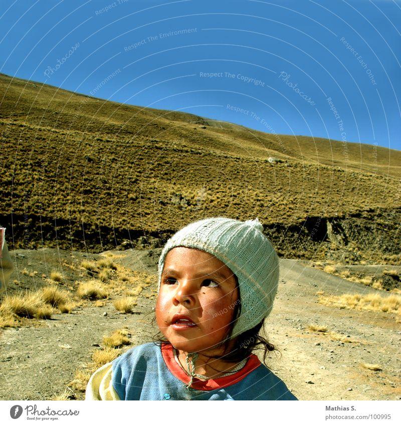 Bolivien Kind Mädchen Straße kalt Berge u. Gebirge Glück Traurigkeit dreckig Arme klein Armut Trauer süß Wachstum Quadrat Mut
