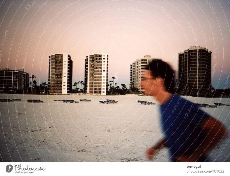 Florida Sunset Ferien & Urlaub & Reisen Strand Spielen Abenddämmerung Läufer Jogger