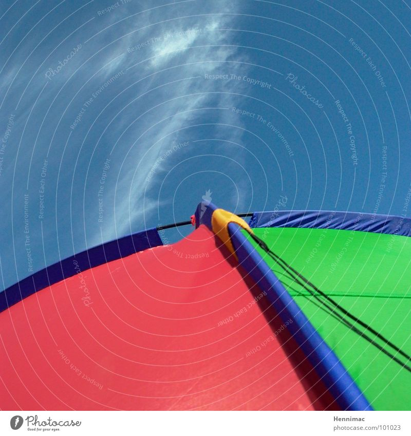 Himmelszelt grün blau rot Sommer Strand Wolken gelb Farbe Rücken Netzwerk Ecke Pfeil Camping Spinne Zelt