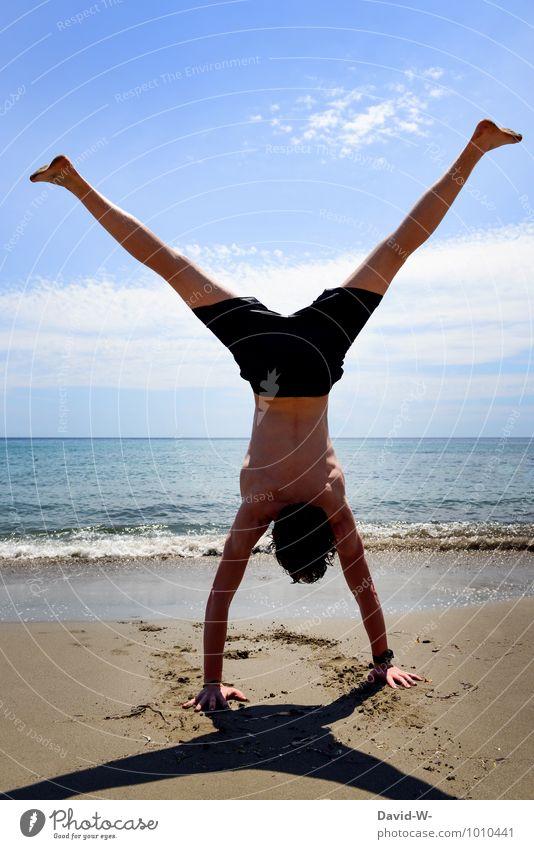 Y Ferien & Urlaub & Reisen Jugendliche Meer Junger Mann 18-30 Jahre Strand Erwachsene Sport außergewöhnlich Sand maskulin Kraft Körper Schönes Wetter Fitness