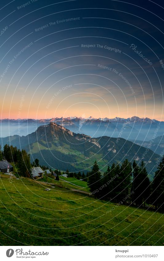 Rigi Scheidegg Umwelt Natur Landschaft Himmel Wolkenloser Himmel Nachthimmel Horizont Sonne Sonnenaufgang Sonnenuntergang Sonnenlicht Sommer Herbst Wetter