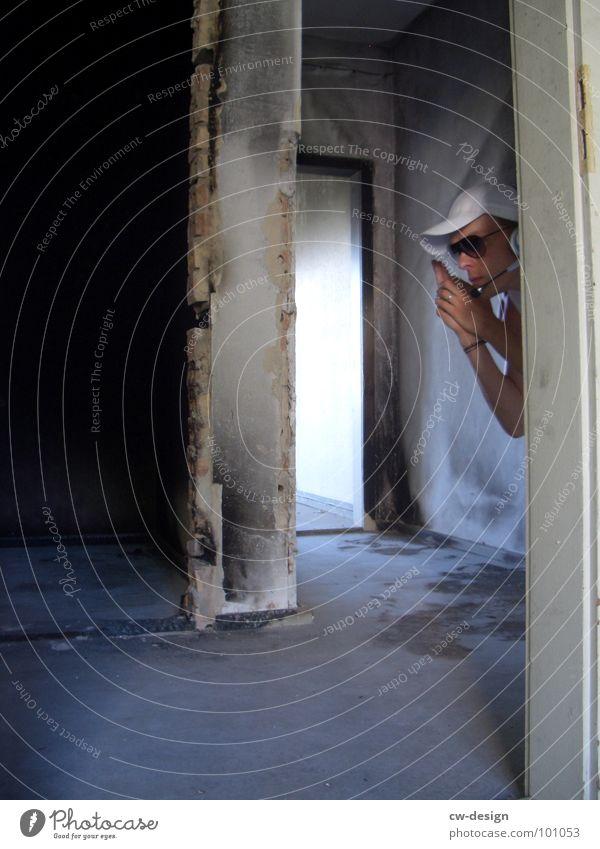[b/w] find in Arbeitsanzug Quarantäne Labor Laborant Anzug Sicherheit fantastisch maskulin 2 Reflexion & Spiegelung wo Gelände Photo-Shooting Hoppegarten