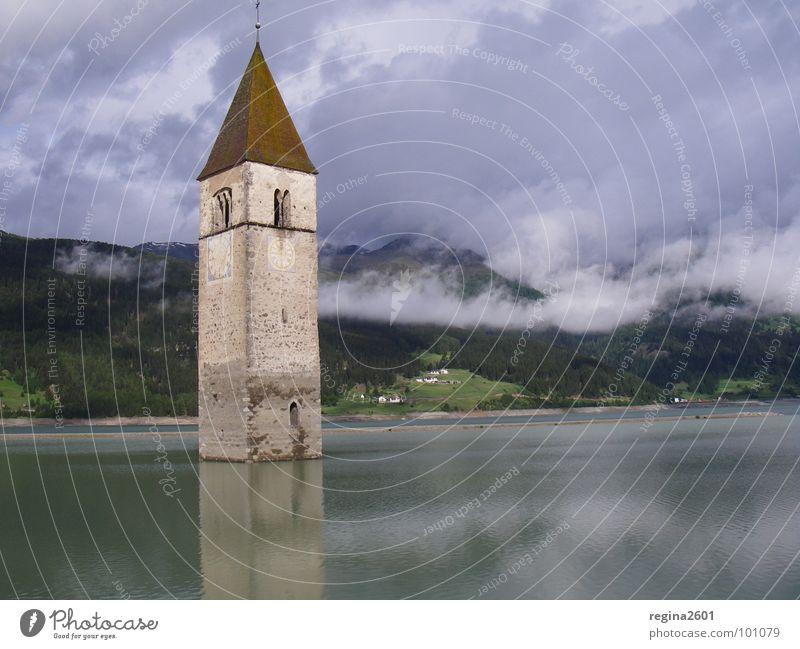 sunken dreams Kirchturm Reschensee Italien Reschnpass Südtirol See Stausee untergehen Gotteshäuser Altgraun Graun passo del resia lago del resia Curon