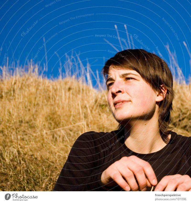 karin II Frau Himmel Hand Freude Gesicht Auge Gras lachen Haare & Frisuren Glück Horizont Zufriedenheit Feld Mund Nase Fröhlichkeit