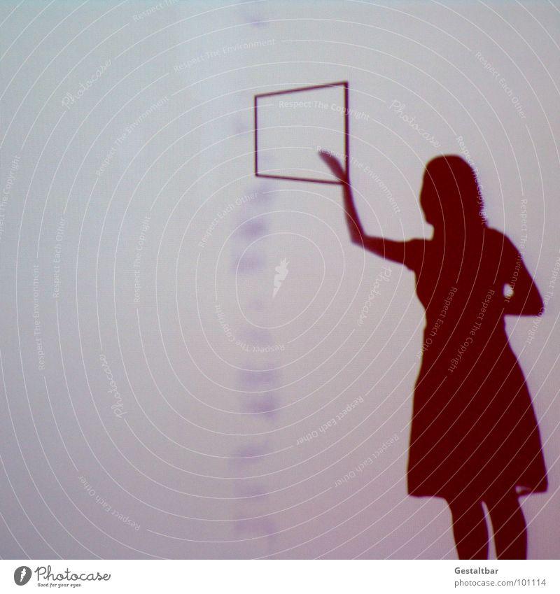 Schattenspiel 02 Frau ruhig feminin Fenster Haare & Frisuren Bewegung Denken Perspektive Aktion geheimnisvoll Aussicht Rahmen Messe Tasche seltsam