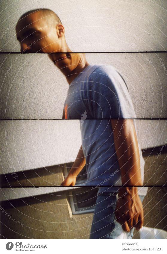 Midistep Mann gehen Spaziergang T-Shirt Haus Lomografie tragen supersampler Teilung