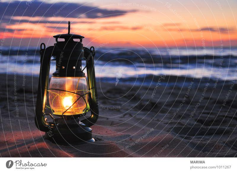 Oil lamp in the sunset Erholung ruhig Ferien & Urlaub & Reisen Tourismus Sonne Strand Meer Insel Lampe Natur Landschaft Sand Wasser Wolken Wärme Küste Ostsee