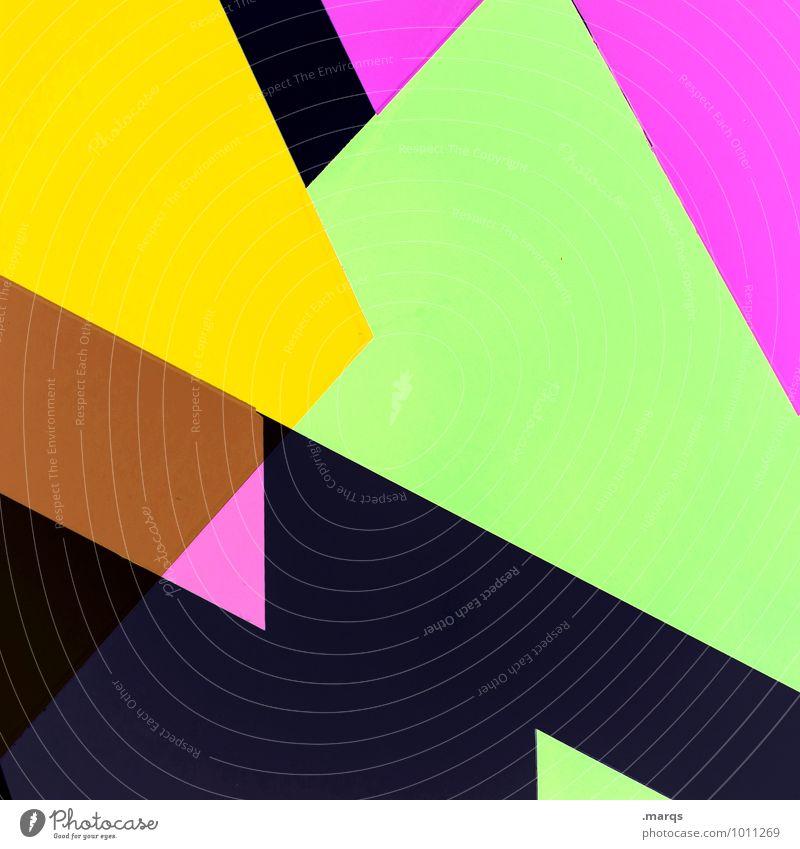 80s Lifestyle elegant Stil Design außergewöhnlich Coolness eckig trendy modern braun gelb grün violett rosa schwarz ästhetisch Grafik u. Illustration