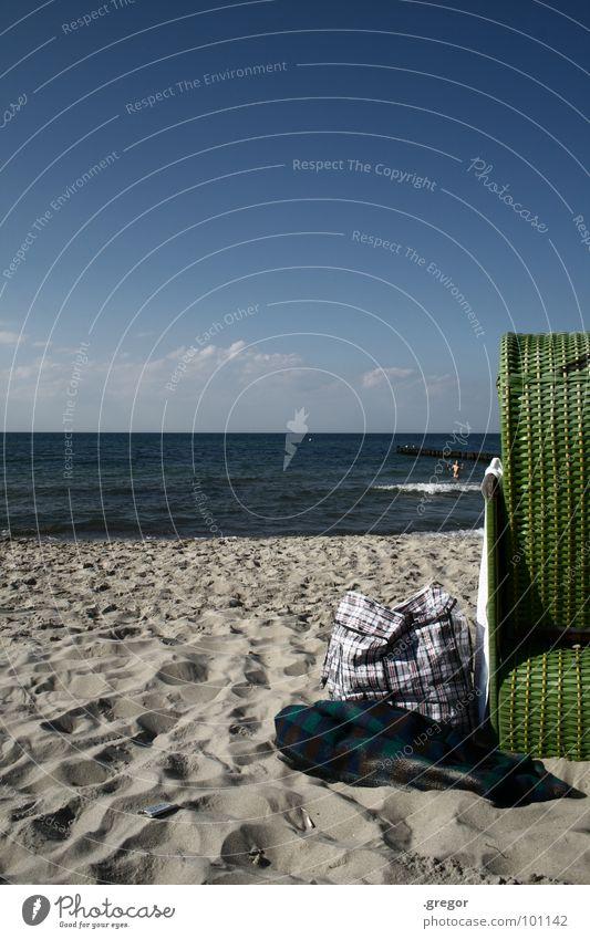 Tag am Strand Meer Strandkorb grün Nachmittag Erholung Ostsee Wasser blau Urlaub Ferien Decke Schwimmen & Baden