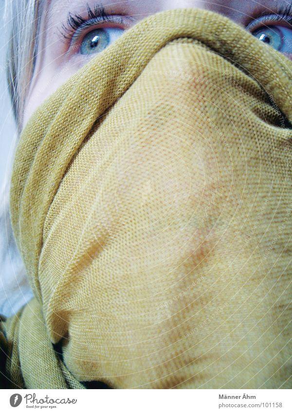 Erreger. Freude Gesicht Angst gefährlich Schutz Maske verstecken Panik Tuch Bakterien