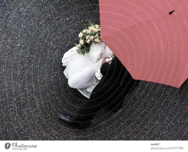 Versprechen Paar Hand Beine Fuß 2 Mensch stehen Fürsorge geheimnisvoll Hoffnung Leidenschaft Zusammenhalt Hochzeitspaar Bund Brautkleid Blumenstrauß elegant
