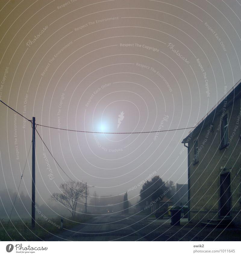 Tagessuppe Strommast Kabel Umwelt Himmel Horizont Sonne Nebel Baum Dorf Haus Mauer Wand Straße dunkel trist Langeweile Endzeitstimmung stagnierend Stimmung