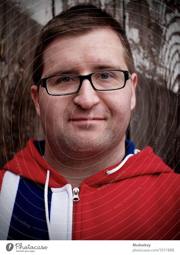 A perfect day,... Mensch Jugendliche blau weiß rot Junger Mann 18-30 Jahre schwarz Erwachsene Gesicht Auge Wand natürlich grau Holz Haare & Frisuren