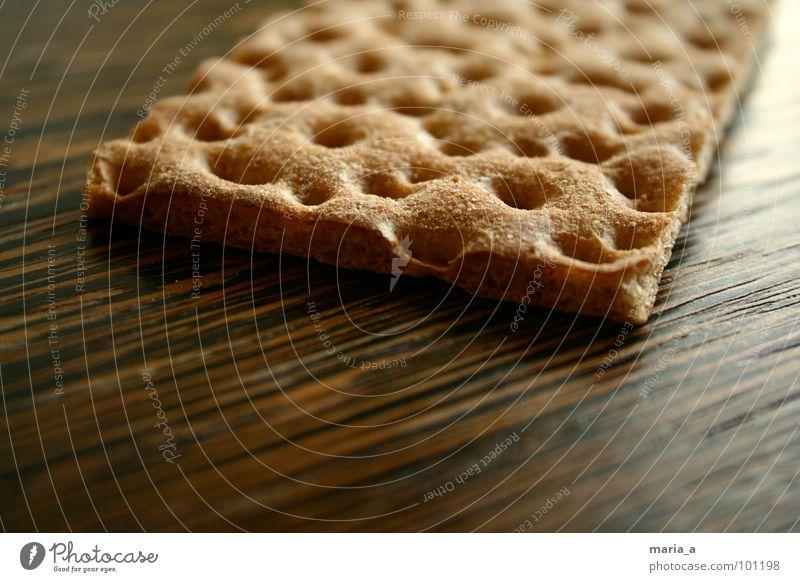 Knäcke Knäckebrot Lebensmittel Loch hart lecker Holz Oberfläche Mehl Backwaren Mahlzeit brechen trocken zerbrechlich Ernährung Cross knuspig Maserung wasa