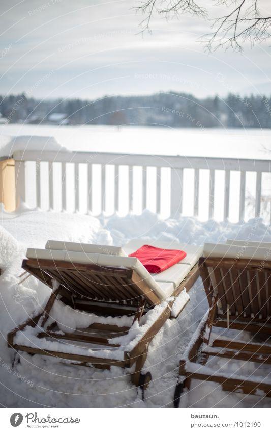 nur die harten kommen in den garten. Himmel Ferien & Urlaub & Reisen Erholung ruhig Winter Ferne Leben Schnee Holz Gesundheit Lifestyle liegen Zusammensein Wetter Häusliches Leben leuchten