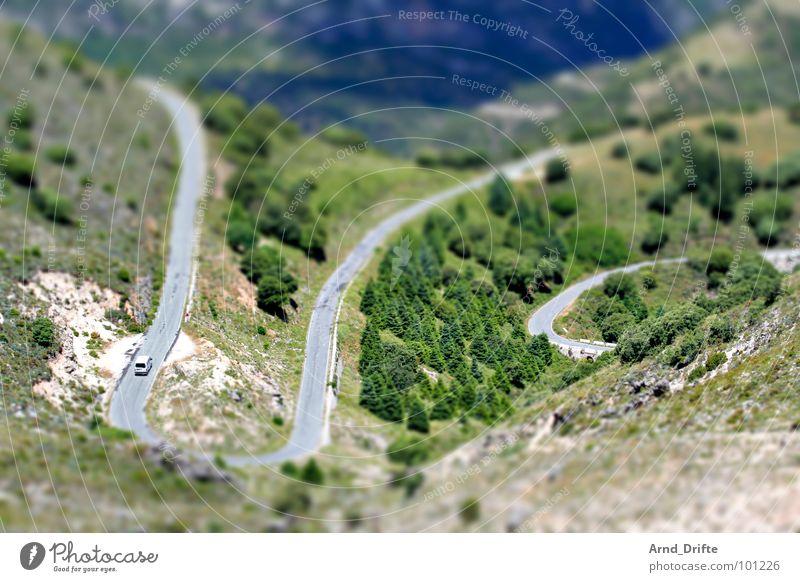 Mini-Serpentinen-Straße Baum grün Landschaft braun klein Verkehr Europa Surrealismus Miniatur Tilt-Shift Andalusien