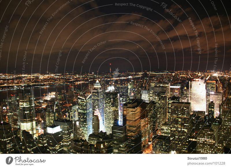 New York New York kalt Beleuchtung groß Hochhaus hoch Macht Zukunft Technik & Technologie USA außergewöhnlich Amerika Bauwerk New York City erhaben beeindruckend