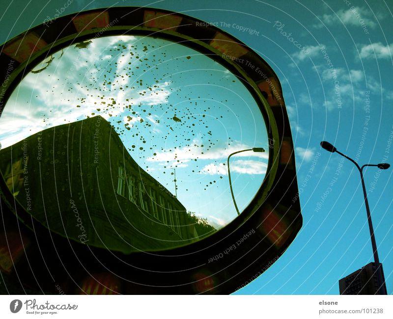 ::GOLDENE ZEITEN:: wahrnehmen Spiegel Reflexion & Spiegelung schwarz rund Zone Laterne gestreift Wolken gelb grün Riesa Erinnerung früher Dresden Industrie