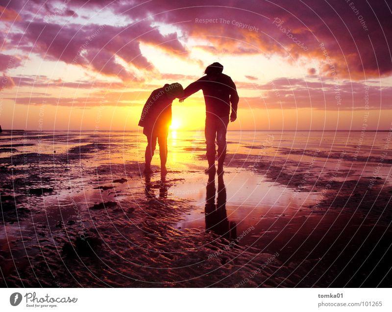 Die vierte Nachtwache Bildung schön Wolken Meer Ebbe Pfütze Priel Wattwürmer Sonnenuntergang Schlamm Moor Europa Wattwandern Horizont Reflexion & Spiegelung 2