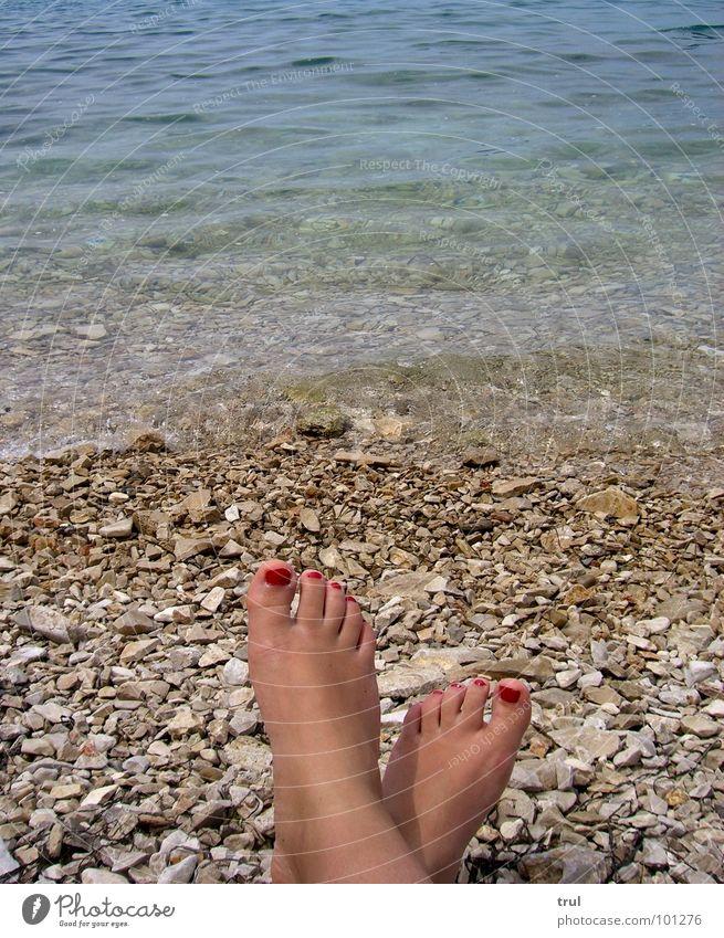 just relax Wasser Meer Sommer Erholung Freiheit Stein Fuß Freizeit & Hobby Kosmetik Nagellack