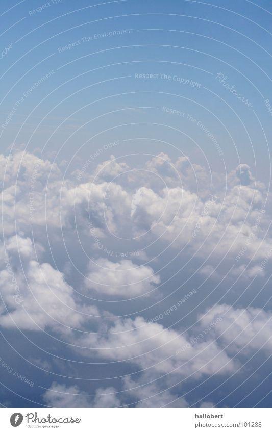 Wolken & Himmel_01 Meer Wetter Luftverkehr Flugzeugfenster über den Wolken